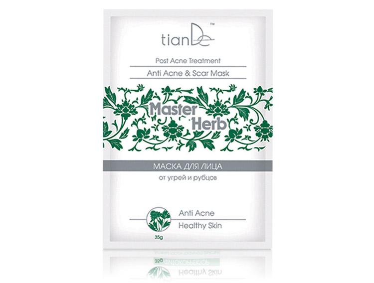 купить Очищающая маска для лица от угрей и рубцов Master Herb TianDe - Лечение акне, глубокое очищение, восстановление кожи после угревых высыпаний ТианДе