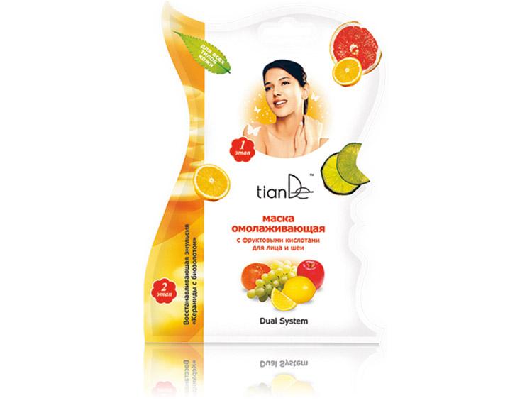 Маска омолаживающая с фруктовыми кислотами для лица и шеи, 1шт