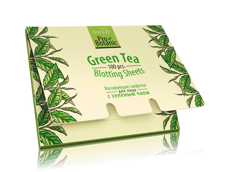Матирующие салфетки для лица с зеленым чаем Pro Botanic, 100шт