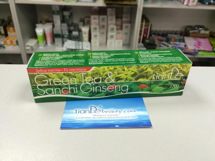 купить Зубная паста «Зеленый чай + женьшень Санчи» TianDe – Защищает зубы и десны. С блеском! ТианДе