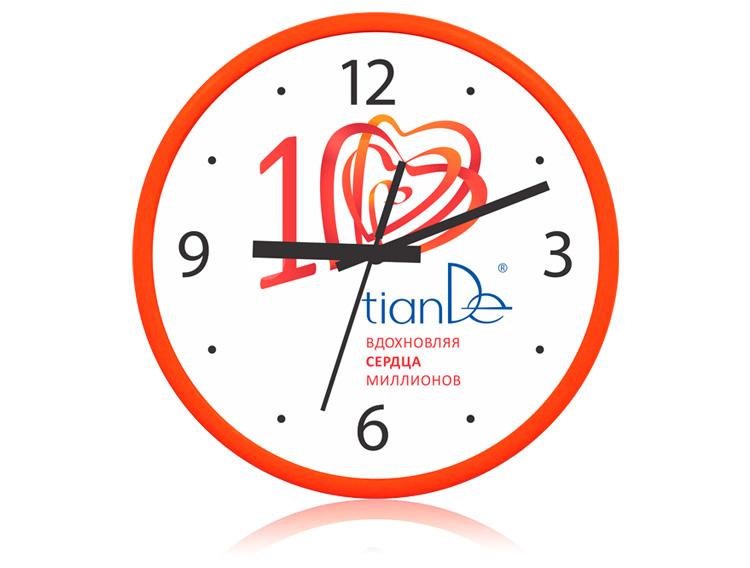 купить Часы настенные «10 лет TianDe» (оранжевые) ТианДе